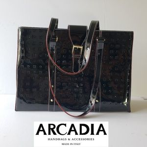 Arcadia Shoulder Tote Large Patent Leather Bag